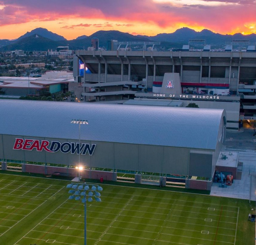 Aerial shot of the Davis Sports Center with Arizona Stadium in the background