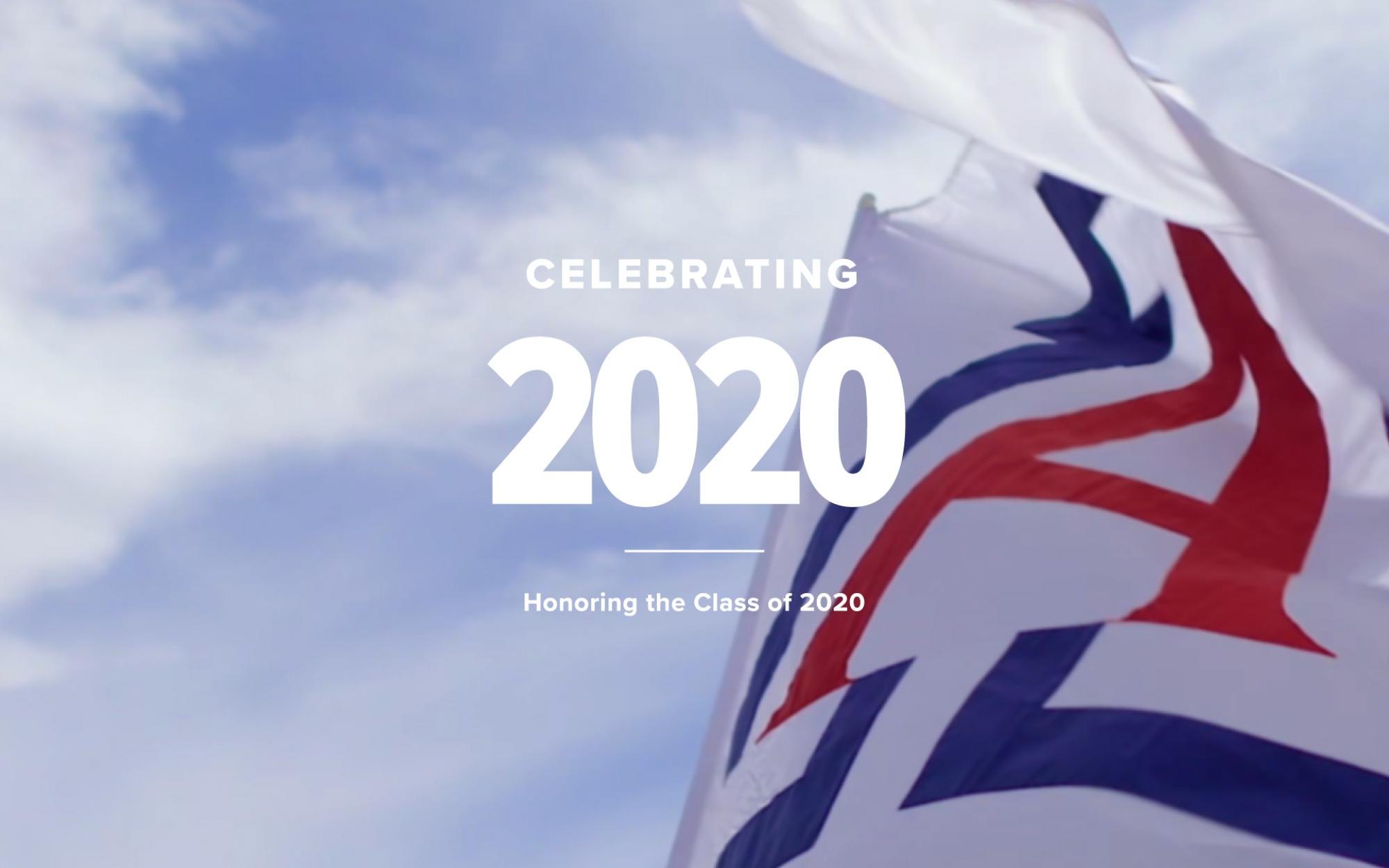 Celebrating 2020 text over picture of a flag and blue sky