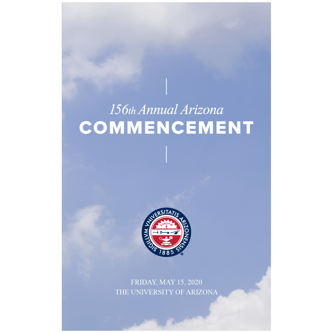 Graphic of the 2020 program featuring a cloud sky and the UA seal
