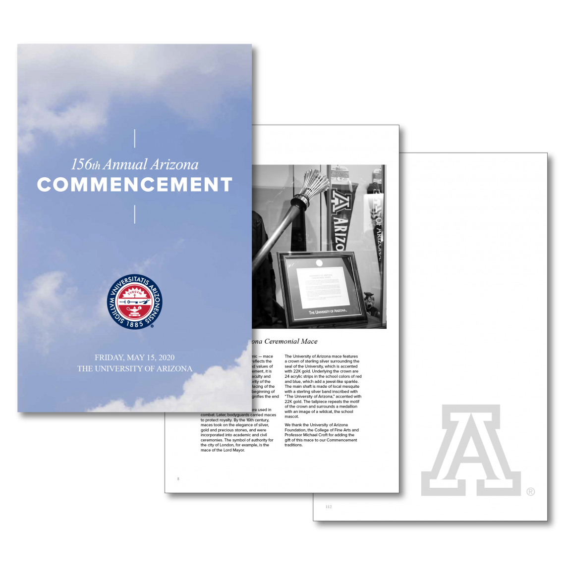 Graphic of the front cover and inserts of the 2020 Commencement Program