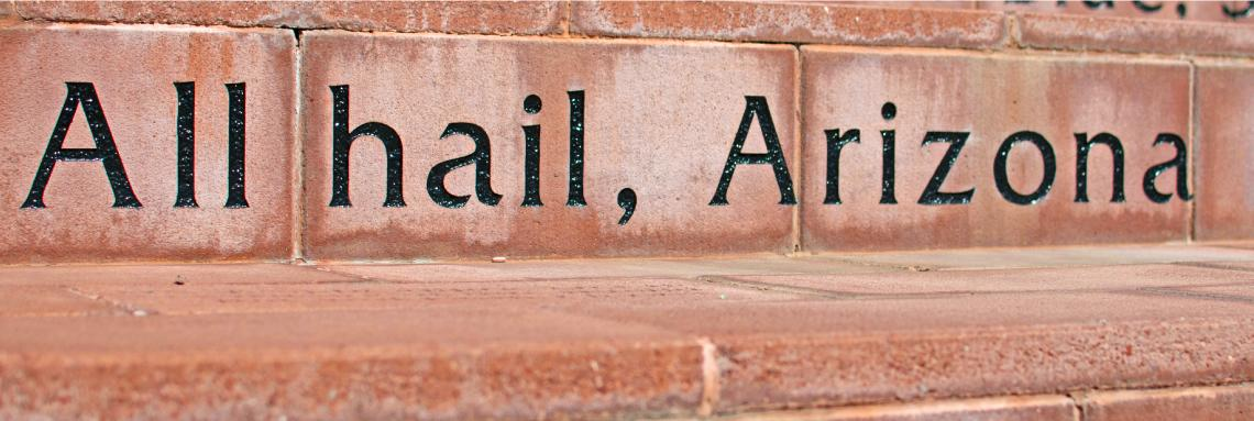 Image of steps outside the Administration Building with an engraving reading All Hail, Arizona